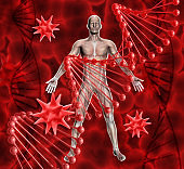 3D medical background with male figure, DNA strands and virus cells