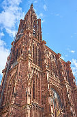 Great Cathedral Notre Dame de Strasbourg before blue Sky