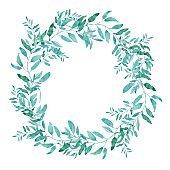 Olive wreath isolated on white background.