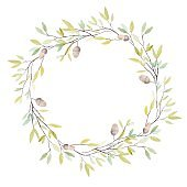 Watercolor Wreath with Oak Acorn and Leaves.