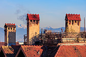 Roofs and chimneys of an old town of the city of Rapperswil, Switzerland