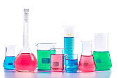 Chemical and Medical laboratory research.  glassware with colorful liquids and reagents. laboratory beakers and glassware