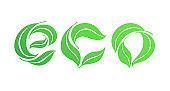 Vector illustration symbol design template sphere green leaf symbol ECO.