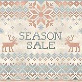 Vector illustration Handmade knitted background pattern Season Sale, reindeers, snowflakes