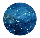 Hand drawn stylized grunge galaxy or night sky with stars. Watercolor space background. Cosmos illustration in circle.