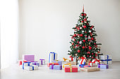 Christmas tree lots of gifts the new year decor