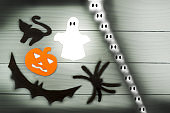Halloween paper silhouette of different characters
