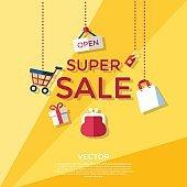 Digital vector yellow shopping