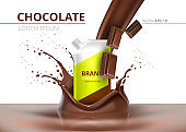 Chocolate package mock up Vector realistic on splash background
