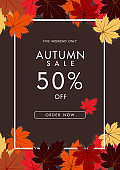 Autumn sale background with vintage colorful leave, vector illustration template, banners, Wallpaper, invitation, posters, brochure, voucher discount.