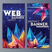 Web banners with faceted crystals. Glass asteroid in outer space. Abstract geometric figure origami on a dark blue. Futuristic banner. 3D style illustration