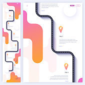 Road trip and journey route homepage concept. Minimal landing page template
