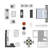 Furniture top view icons collection. Living room sofa, armchair and a coffee table floor plan design elements, kitchen, dinner table, bar stools, bed, clothing rack, bathroom w bath tube and a shower.
