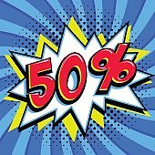 Blue sale web banner. Pop art comic sale discount promotion banner. Big sale background. Sale Fifty 50 off on a Comics pop-art style bang shape on blue twisted background. Seasonal discounts, Black Friday, the interest rate, etc. sale web banner. Pop art