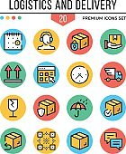 Logistics and delivery icons. Modern thin line icons set. Premium quality. Outline symbols, graphic elements, concept, round flat line icons. Vector illustration