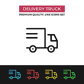Vector delivery truck icon. Shipping, shipment. Premium quality graphic design. Modern linear stroke signs, pictograms, outline symbols collection, simple thin line icons set for websites, web design, mobile app