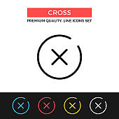 Vector x mark icon. Cross, close button concept. Premium quality graphic design. Modern linear stroke signs, pictograms, outline symbols collection, simple thin line icons set for websites, web design, mobile app