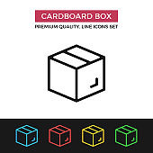 Vector cardboard box icon. Parcel, delivery, moving. Premium quality graphic design. Modern linear stroke signs, pictograms, outline symbols collection, simple thin line icons set for websites, web design, mobile app