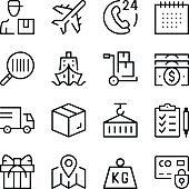 Logistics line icons set. Modern graphic design concepts, simple outline elements collection. Vector line icons