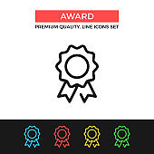 Vector award icon. Medal, prize, reward, achievement concepts. Premium quality graphic design. Modern linear stroke signs, pictograms, outline symbols collection, simple thin line icons set for websites, web design, mobile app