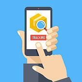 Parcel tracking. Find parcel location. Hand holding smartphone with cardboard package, magnifying glass and tracking button on mobile phone screen. Finger touching button. Modern flat design vector illustration