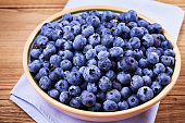 Blueberries in clay bowl. Freshly picked berries on rustic background