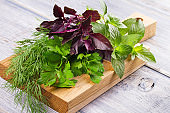 Herbs on wooden chopping board: parsley, mint, basil and dill. Culinary herbs for cooking and garnishing food