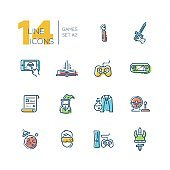 Video Gaming - thick line icons set