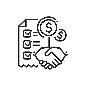 Contract - line design single isolated icon
