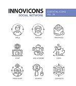 Social Network - modern vector line icons set