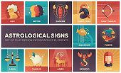 Astrological signs - set of flat design infographics elements