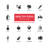 Healthy food - line design icons set.