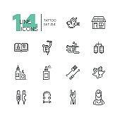 Tattoo Studio - line icons set