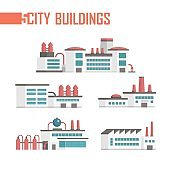 Five city industrial buildings set of icons - vector illustration