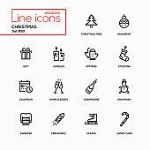 Holidays theme, Christmas - line design icons set