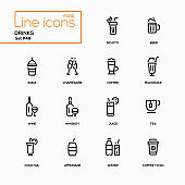 Food theme, alcohol and soft drinks - line design icons set.