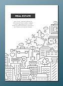 Real Estate - line design brochure poster template A4