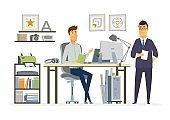 Partner Meeting - modern vector cartoon business characters illustration