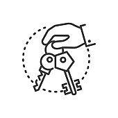 Keys - line design single isolated icon
