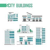 Five city buildings set of icons - vector illustration