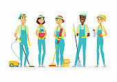 Cleaning staff - cartoon people characters isolated illustration