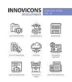 Web Page Development - modern vector line icons set.