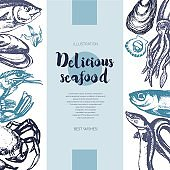 Delicious Seafood - color drawn vintage banner template.