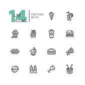 Fast Food Cafe Menu Icons Set