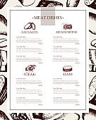 Processed Meat - vector hand drawn template menu