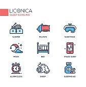 Sleep - coloured modern single line icons set