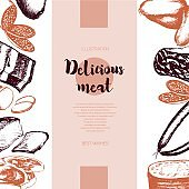 Processed Meat - vector hand drawn banner template.