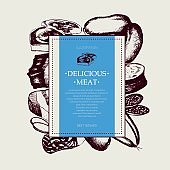 Processed Meat - vector hand drawn square postcard