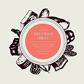 Processed Meat - vector hand drawn round banner.