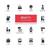 Fashion concept, beauty - line design icons set